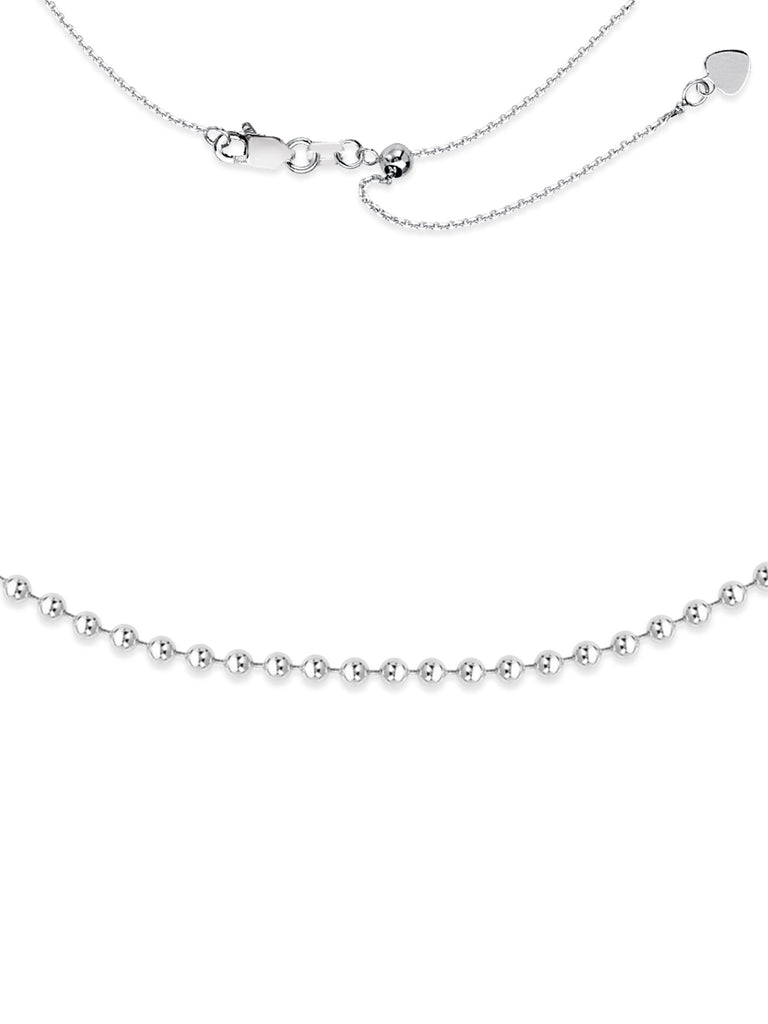 Choker Necklace with 3mm Bead Chain Rhodium on Sterling Silver