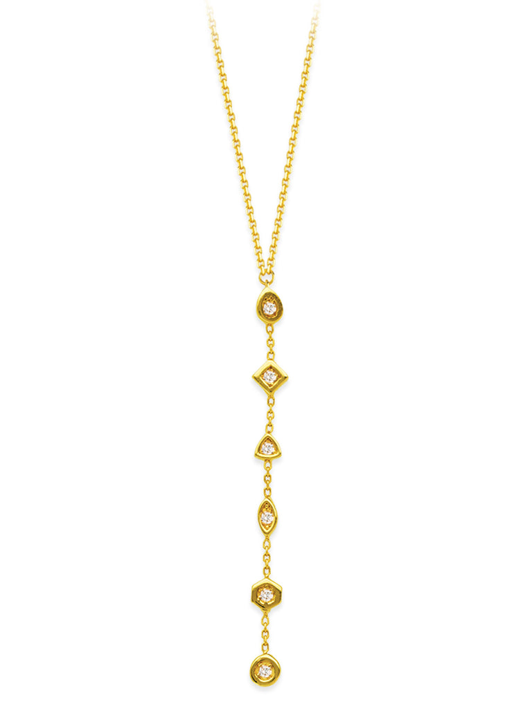 14k Yellow Gold 6-stone Diamond Necklace Y-style Drop