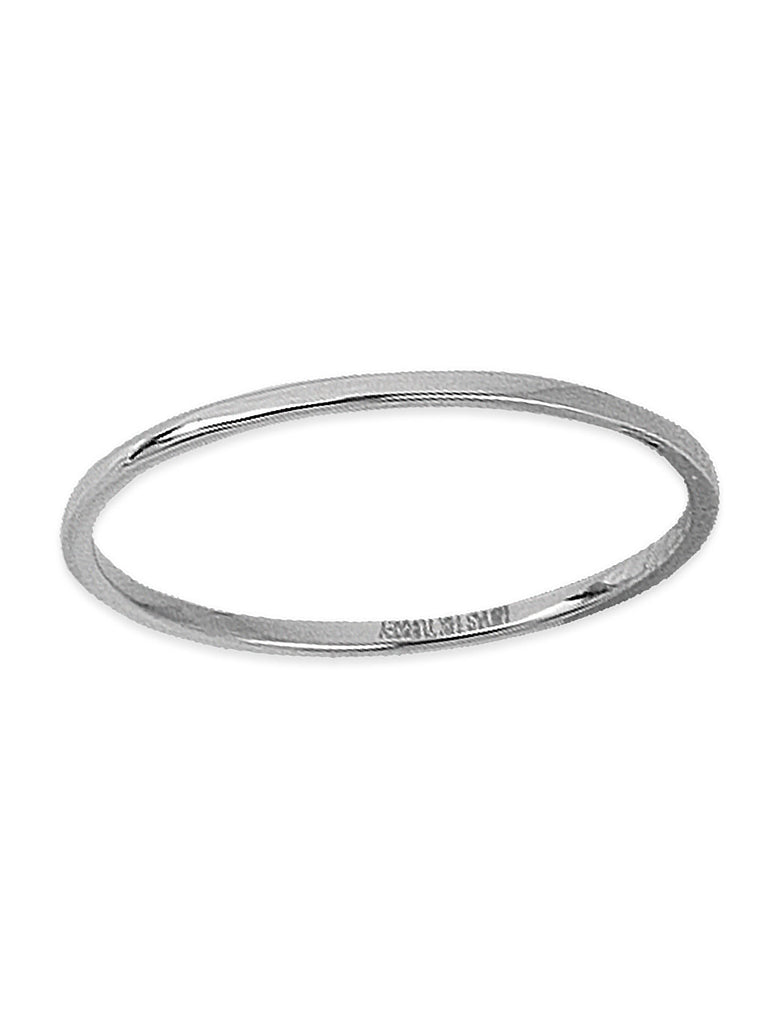 14k White Gold Plain Thin Band Wedding Ring