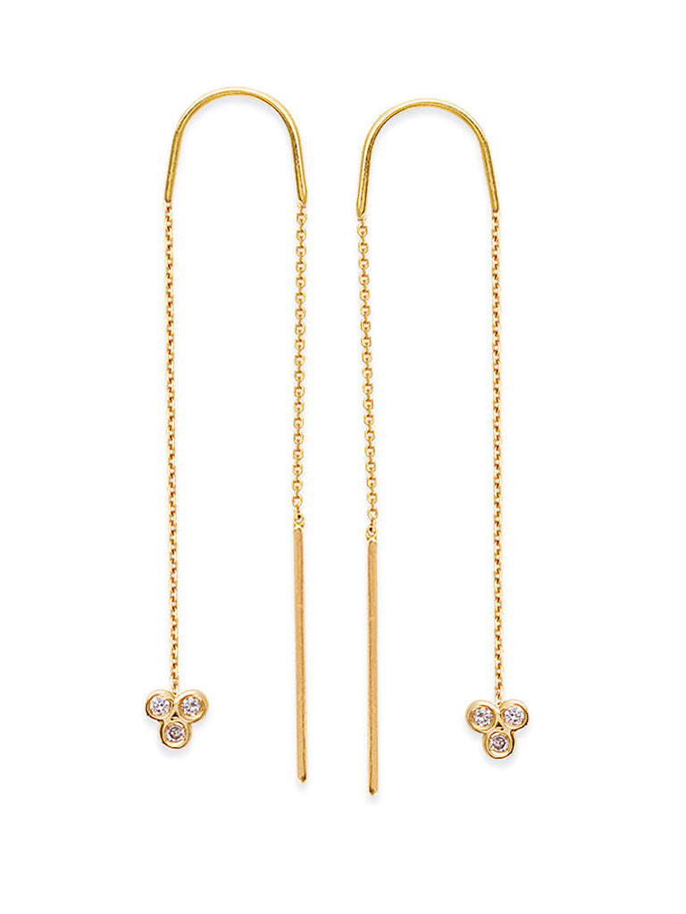 14K Yellow Gold Threader Earrings with Triple Cluster and Bar Ends with Diamonds