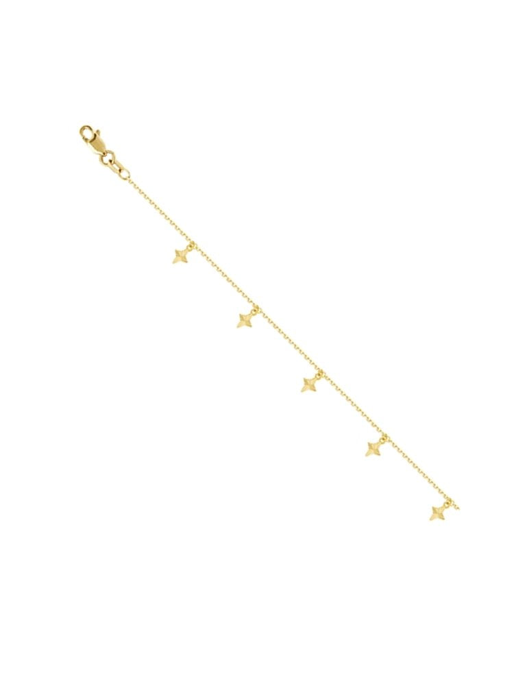 14k Yellow Gold Anklet Ankle Bracelet with Cubic Zirconia Stations and Drops