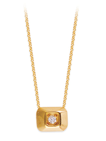 14k Yellow Gold and Diamond Raised Rectangle Necklace Adjustable Length