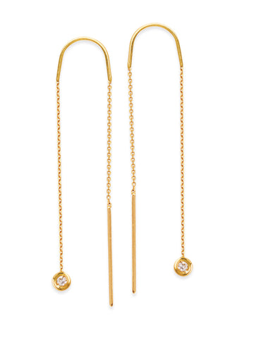 14K Yellow Gold Threader Earrings Bar Ends and Circle with Diamonds