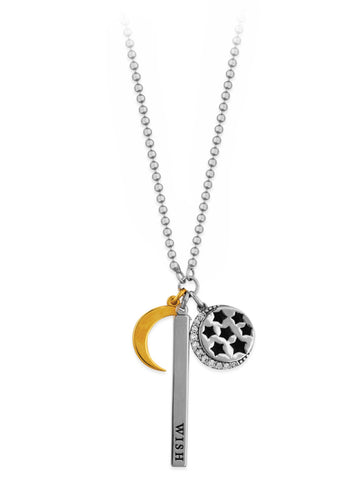 Charm Necklace with Wish, Moon, Stars and CZ Charms Adjustable Length
