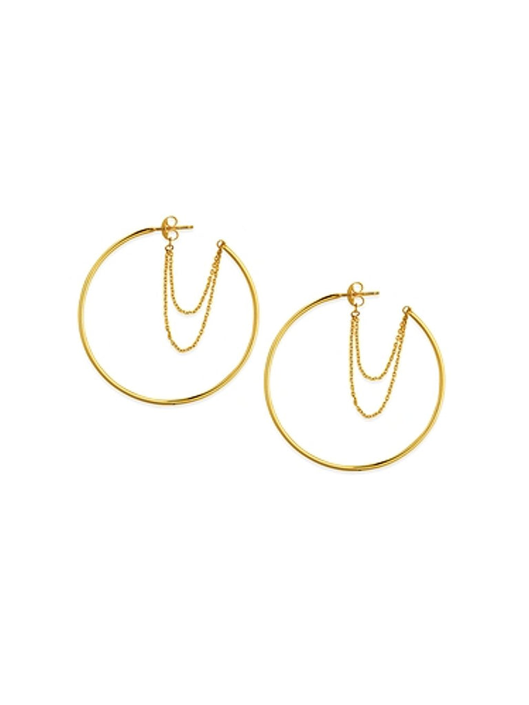 14k Yellow Gold Hoop Earrings with Double Chain Loop