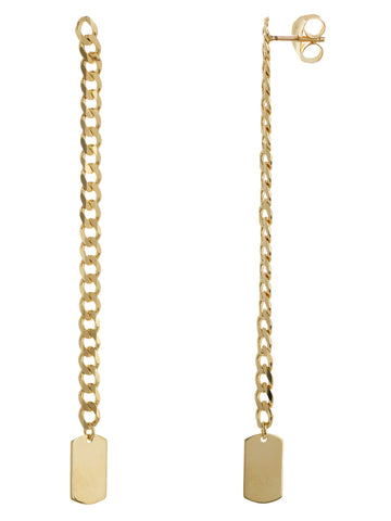 14k Yellow Gold Chain with Dog Tag Earrings - Modern Vintage Curb Collection