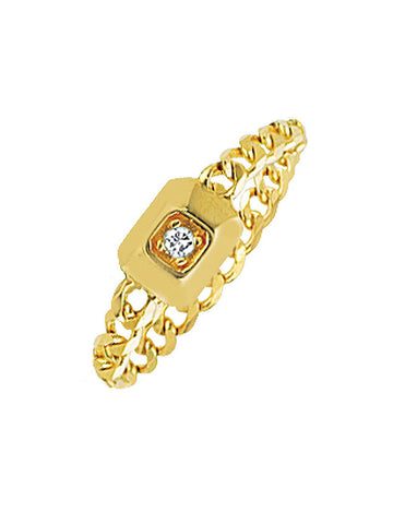 14k Yellow Gold with Genuine Diamond Chain Ring Modern Vintage Curb Collection