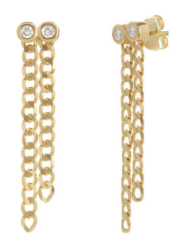 14k Yellow Gold Two Diamond and Chain Earrings, Modern Vintage Curb Collection