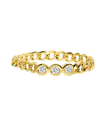 14k Yellow Gold Diamond Chain Ring Modern Vintage Curb Collection