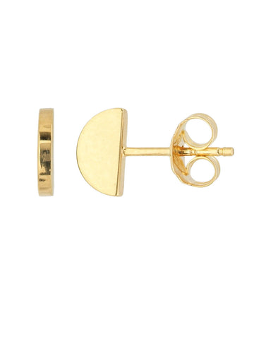 14k Yellow Gold Profile Stud Earrings Half Moon Circle Design