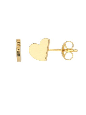 14k Yellow Gold Profile Stud Earrings Half Heart Design