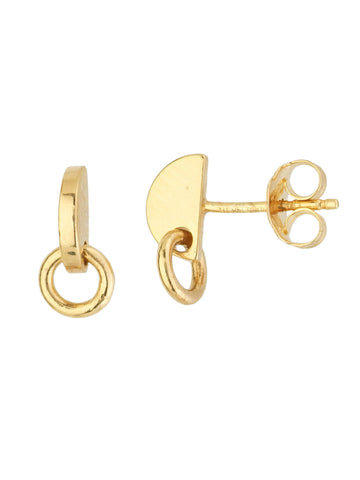 14k Yellow Gold Profile Stud Earrings Half Circle Disk with Loop
