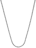 14k White Gold Diamond-cut Rope Chain Necklace 1.05mm 025 Gauge
