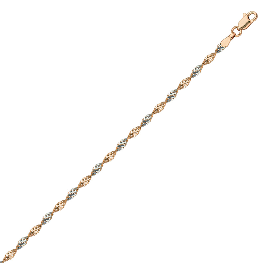 14k 2-tone White and Rose Gold Dorica Twist Chain 030 Gauge 2.1mm Wide