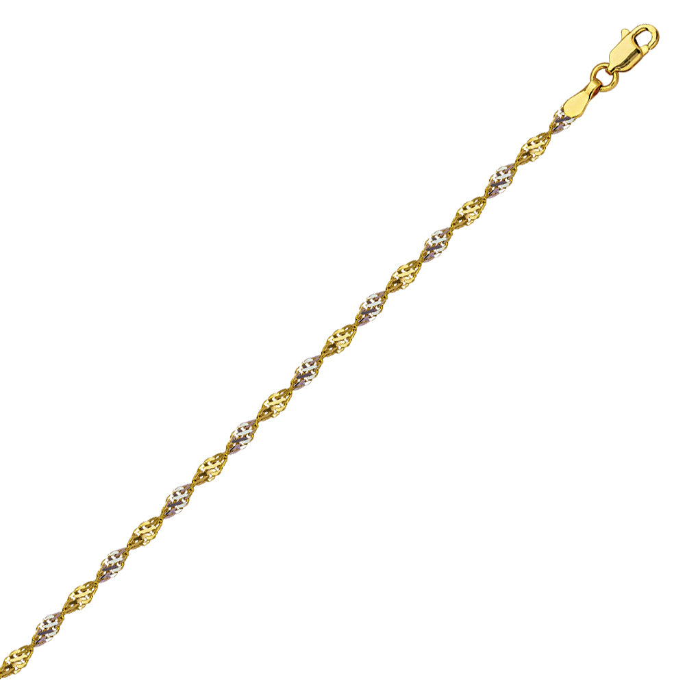 14k 2-tone White and Yellow Gold Dorica Twist Chain 030 Gauge 2.1mm Wide