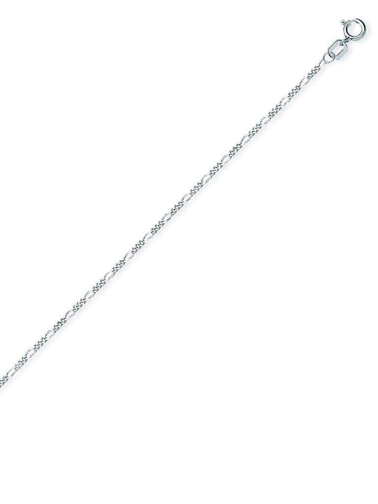14k White Gold Figaro Chain 035 Gauge 1.28mm Wide
