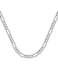 14k White Gold Figaro Chain 100 Gauge 3.9mm Wide with Lobster Clasp