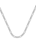 14k White Gold Figaro Chain 060 Gauge 2.36mm Wide with Lobster Clasp