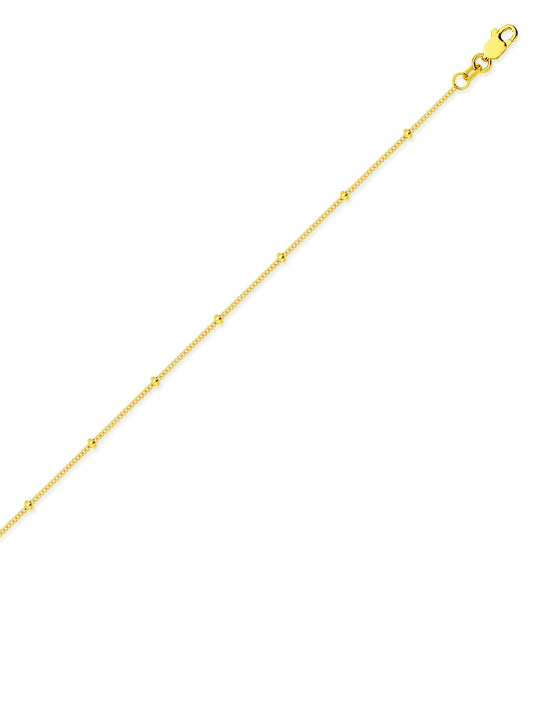 14k Yellow Gold Satellite Bead Chain Necklace