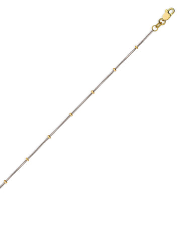 14k Two tone Gold Saturn Small Bead Anklet with Curb Chain Adjustable Length