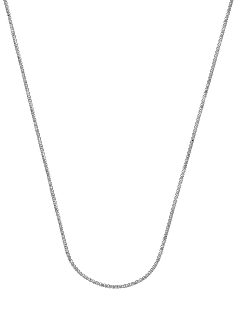 14k White Gold Round Wheat Chain Necklace 0.85mm 020 Gauge