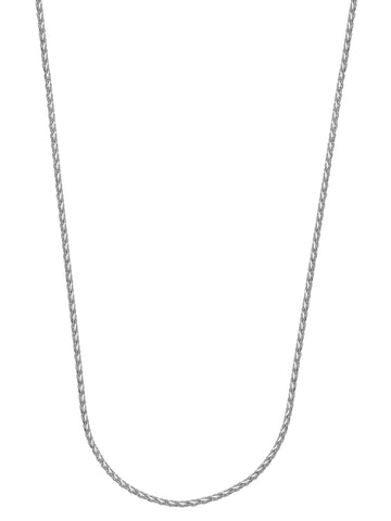 14k White Gold Diamond-cut Wheat Chain Necklace 0.85mm  025 Gauge