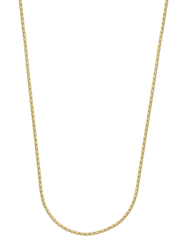 14k Yellow Gold Diamond-cut Wheat Chain Necklace 0.85mm  025 Gauge
