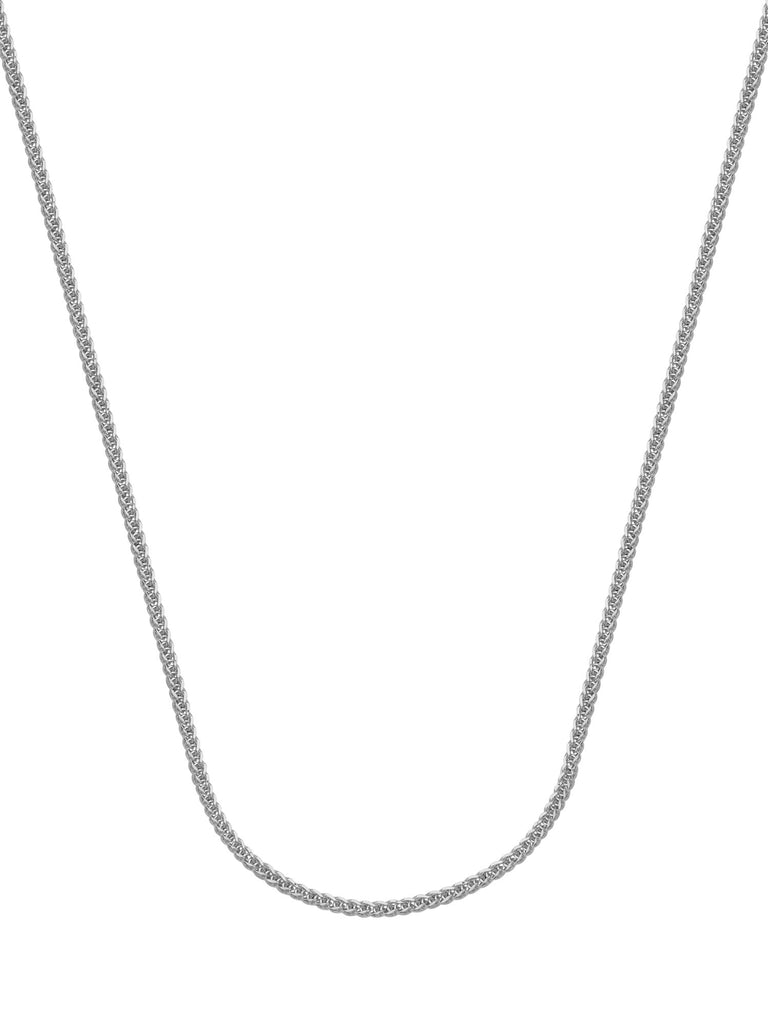 14k White Gold Square Wheat Chain Necklace 1mm 025 Gauge with Lobster Clasp