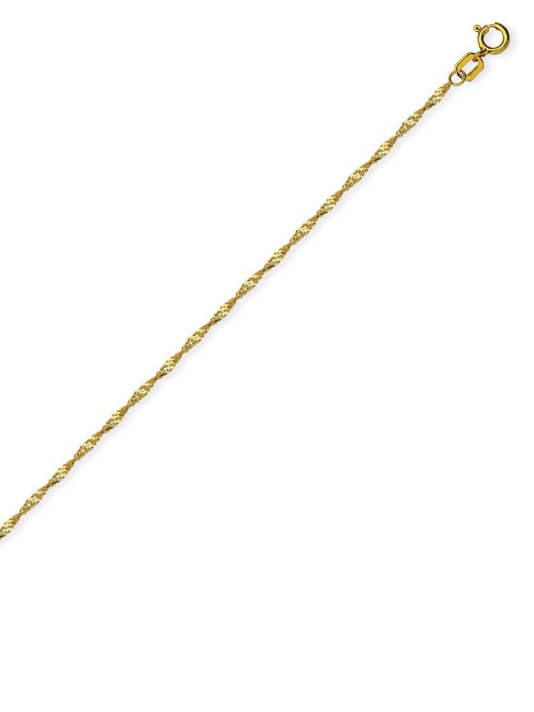 14k Yellow Gold Singapore Twist Chain Necklace 1.15mm 020 Gauge