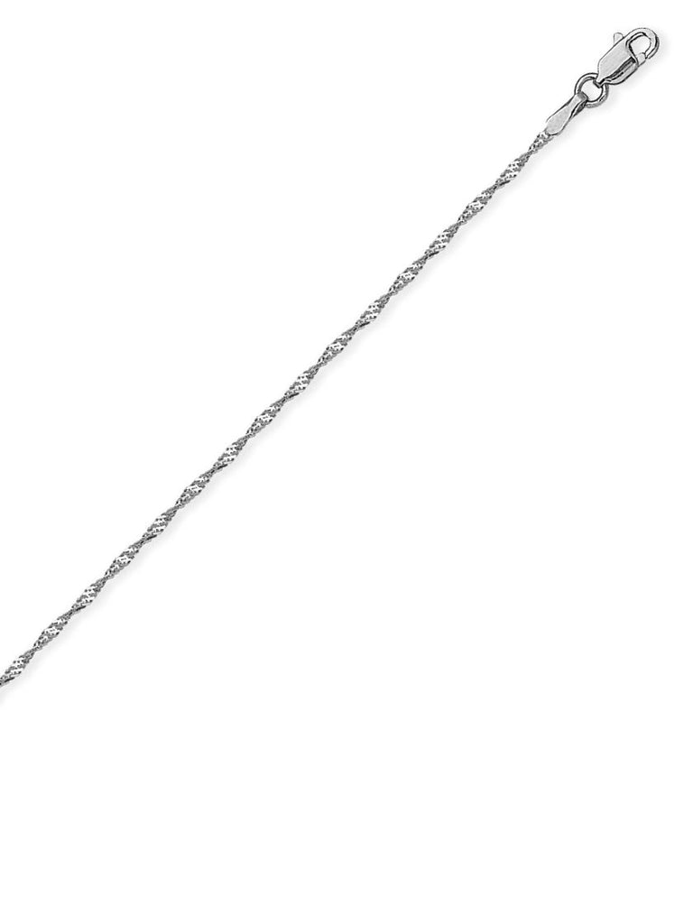 14k White Gold Singapore Chain Necklace 1.15mm 020 Gauge with Lobster Clasp