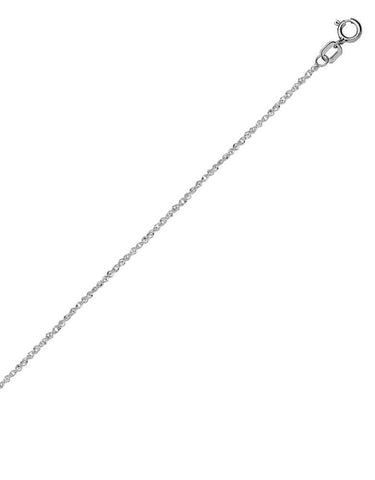 14k White Gold Sparkle Singapore Chain Necklace 0.8mm 017 Gauge