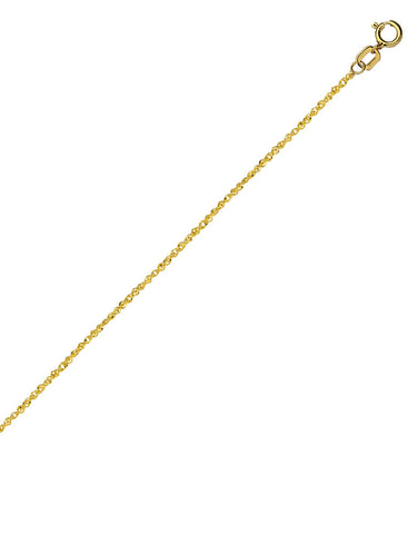 14k Yellow Gold Sparkle Singapore Chain Necklace 0.8mm 017 Gauge