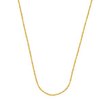 14k Yellow Gold Sparkle Singapore Chain Necklace 0.85mm 020 Gauge Lobster Clasp