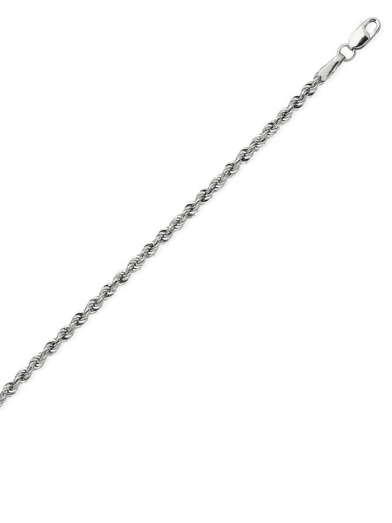 14k White Gold Light Rope Chain Necklace 2.3mm 018 Gauge