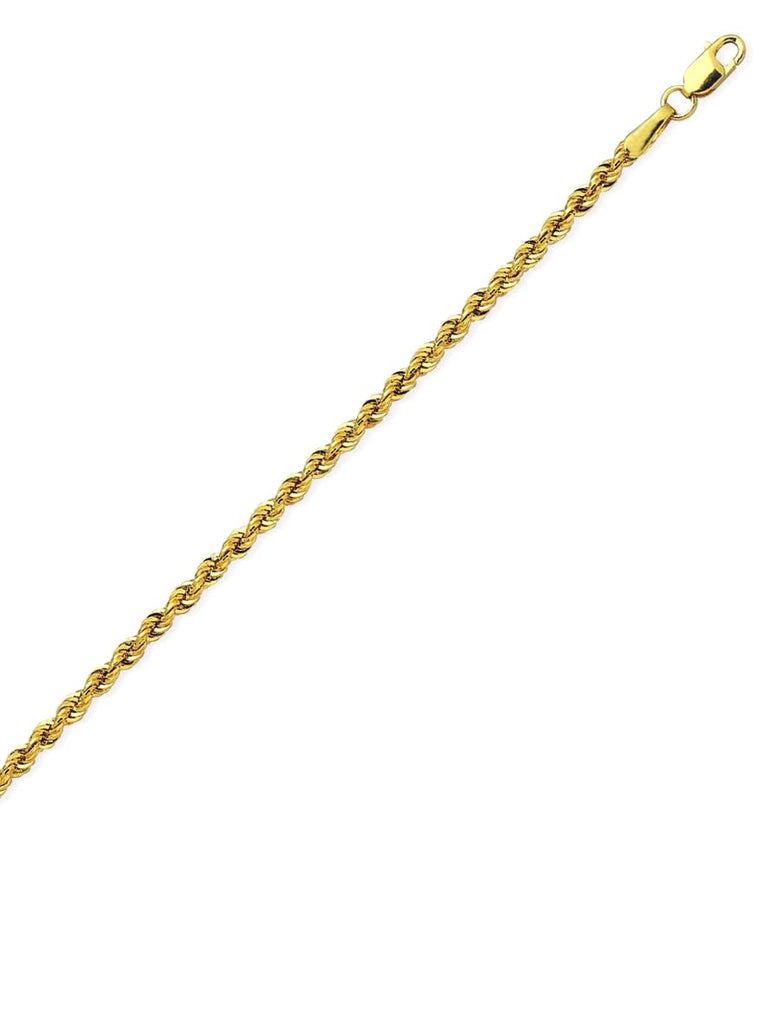 14k Yellow Gold Light Rope Chain Necklace 2.3mm 018 Gauge