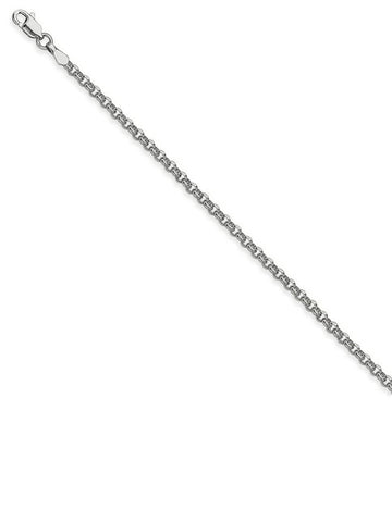 14k White Gold Rolo Chain Necklace 2.5mm 060 Gauge