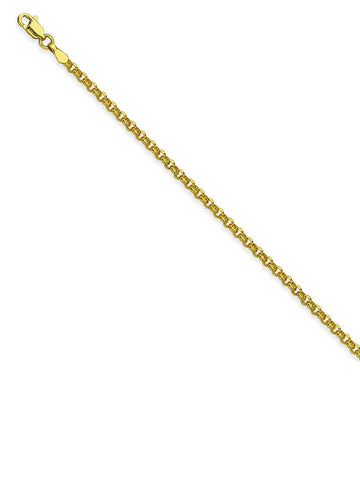 14k Yellow Gold Rolo Chain Necklace 2.5mm 060 Gauge
