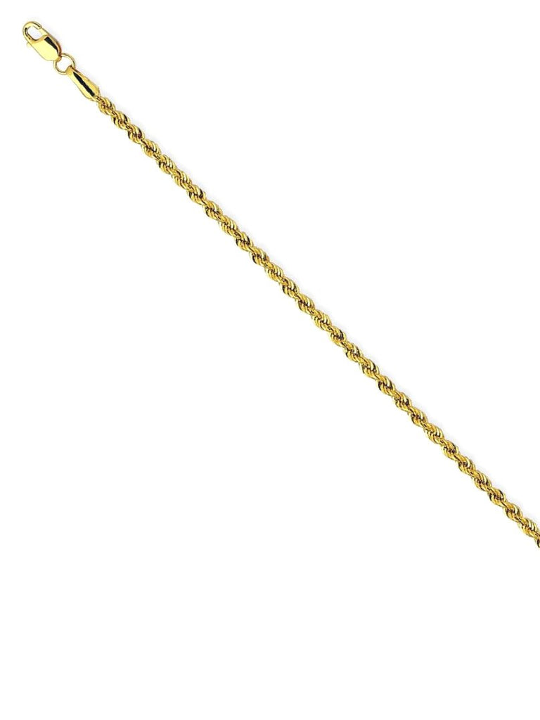 14k Yellow Gold Hollow Light Rope Chain Necklace 1.8mm 014 Gauge