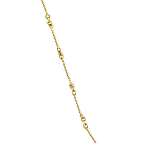 14k Yellow Gold Anklet Ankle Bracelet with Twisted Bar Cable Chain