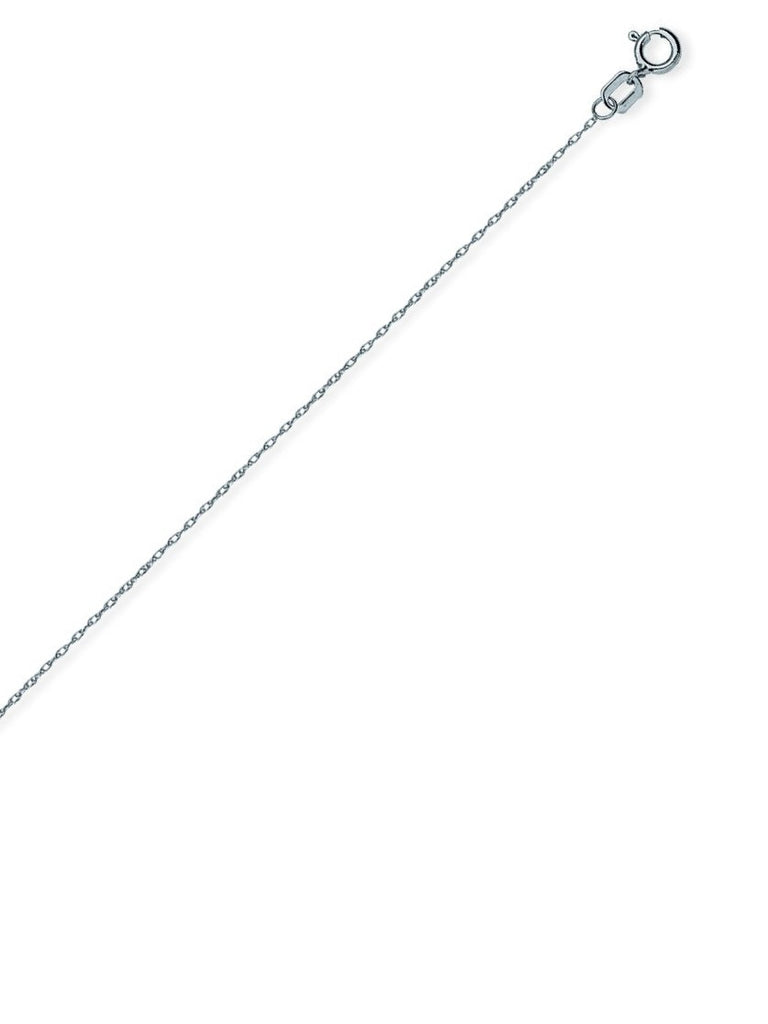 14k White Gold Rope Chain Necklace 0.65mm