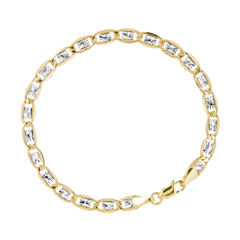 14k Two-tone White and Yellow Gold Link Bracelet with Star Design