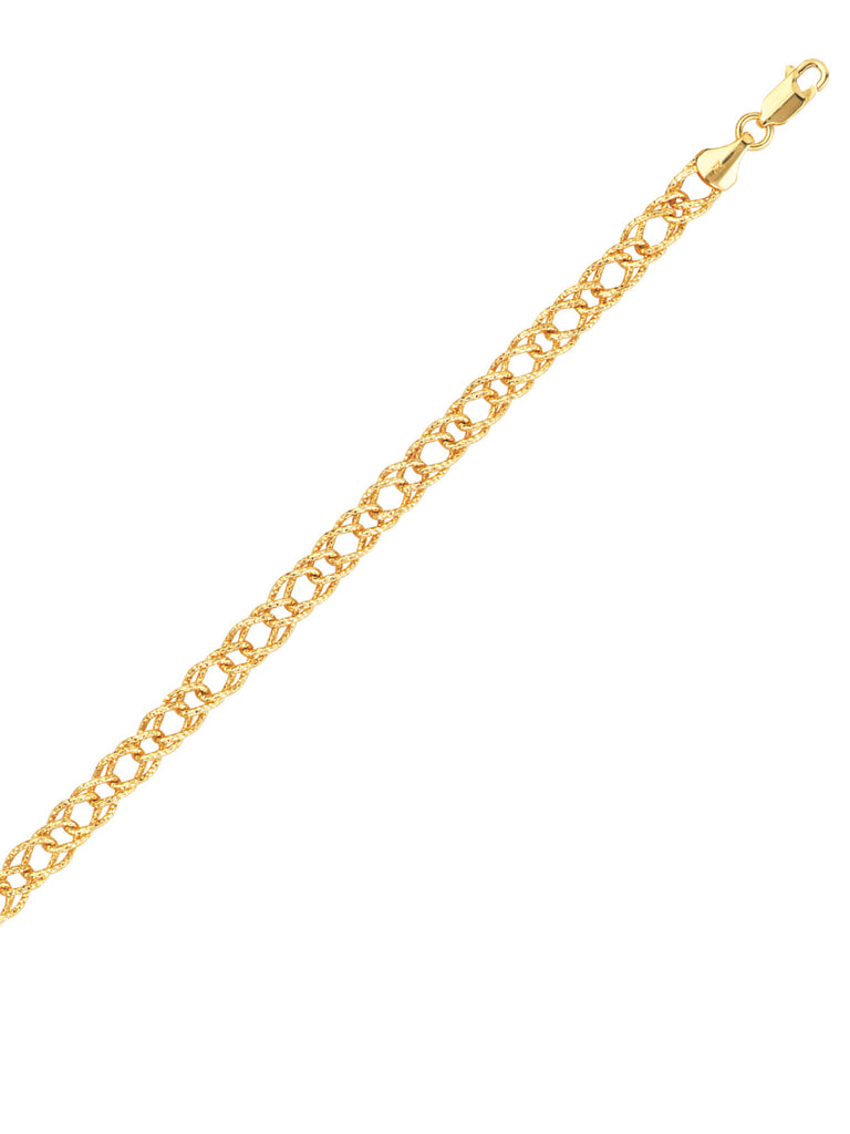 14k Yellow Gold Rombo Chain Bracelet with Sparkling Crystal Cut