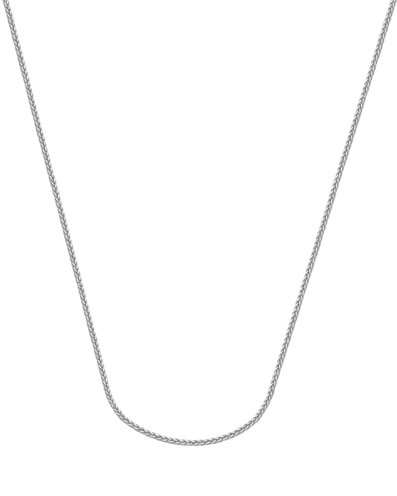 14k White Gold Light Wheat Chain Necklace 1mm 025 Gauge with Spring Clasp