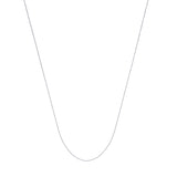 14k White Gold Box Chain 0.55mm 040 Gauge 18 inches with Long Tag, Ring Clasp