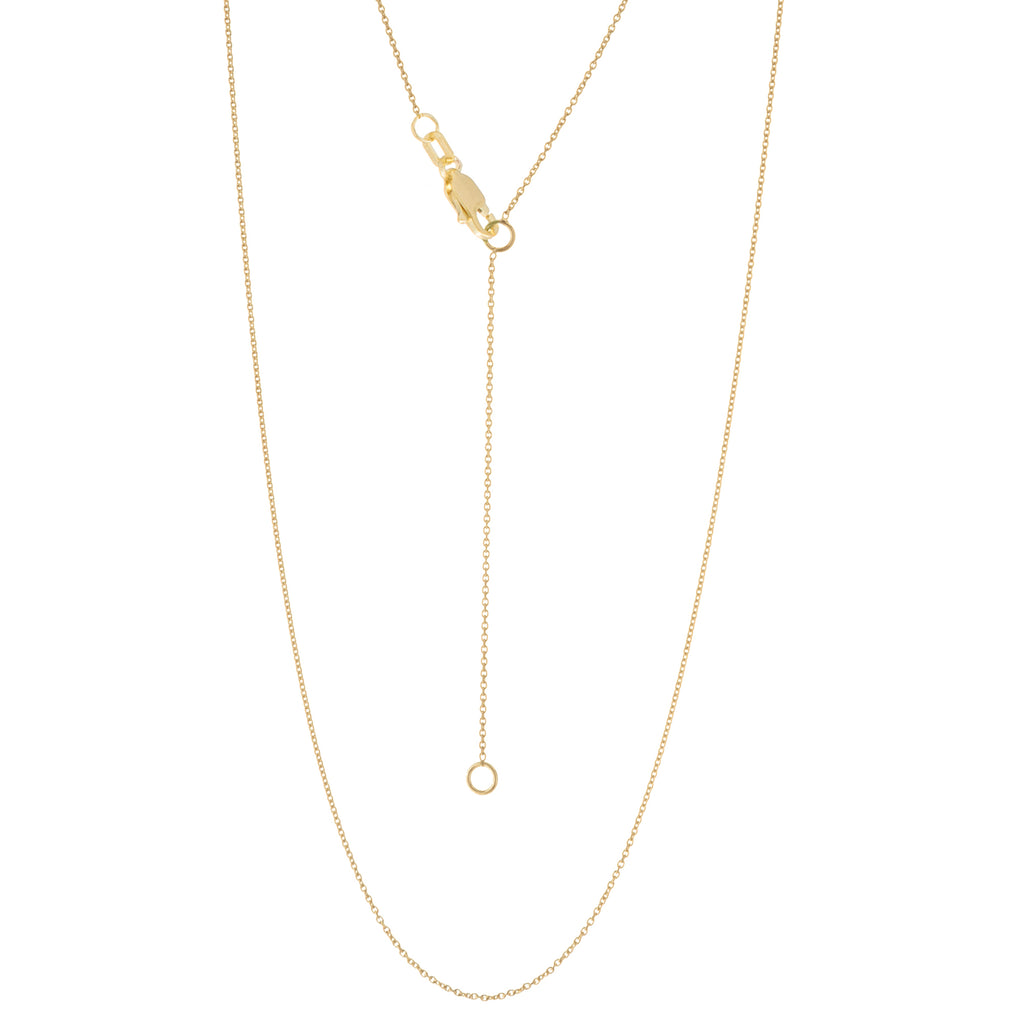 14k Yellow Gold Cable Chain 0.90mm Adjustable Length