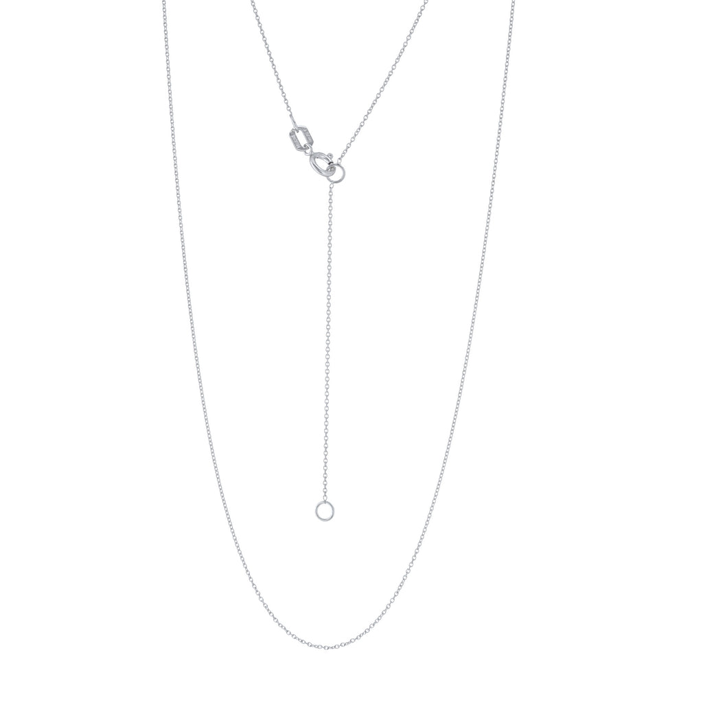 14k White Gold Cable Chain 0.70mm Adjustable Length