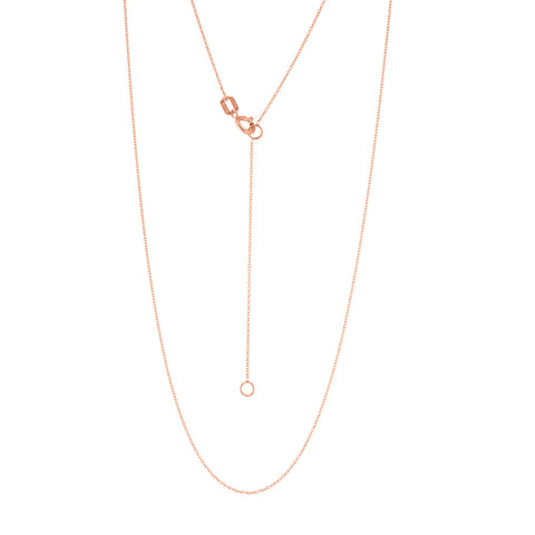 14k Rose Gold Cable Chain 0.70mm Adjustable Length