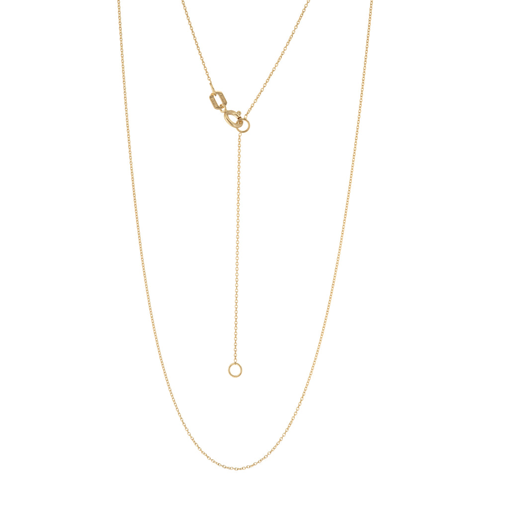 14k Yellow Gold Cable Chain 0.70mm Adjustable Length