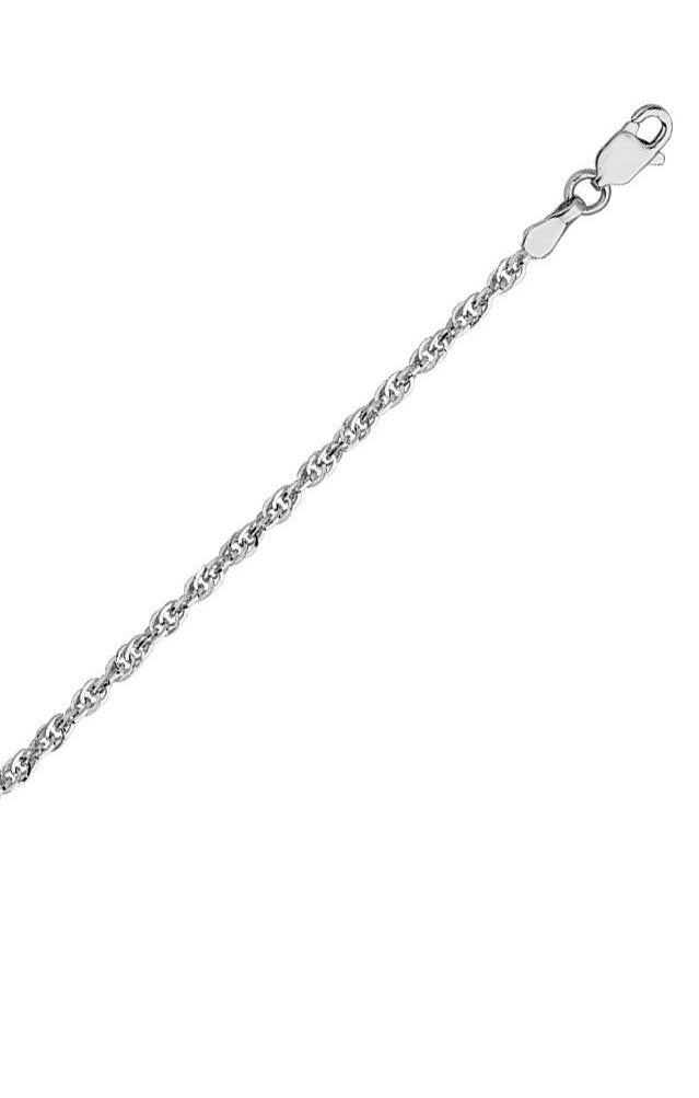 14k White Gold Double Rope Chain Necklace 1.8mm 030 Gauge