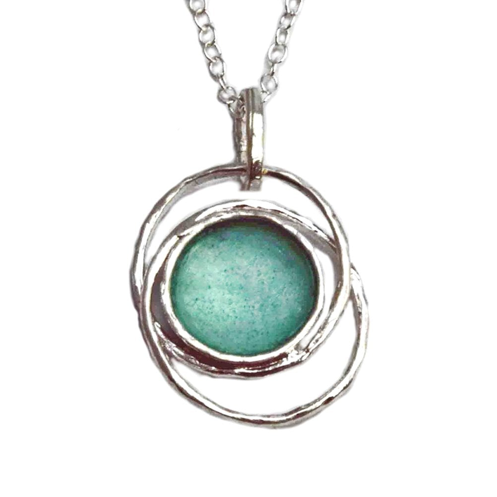 Ancient Roman Glass Concentric Circle Necklace Sterling Silver Made in Israel